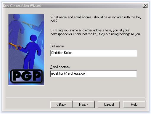Выберите тип генерируемого ключа (DSS/DH или RSA). Прежние версии PGP